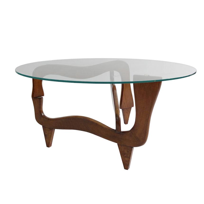 Polymorphic teak and glass coffee table