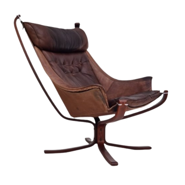 Sigurd Ressell, Norwegian lounge chair, 70s, leather, original good condition
