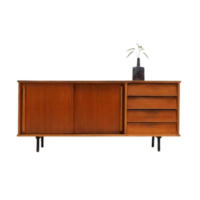 Vintage French sideboard in oak and formica