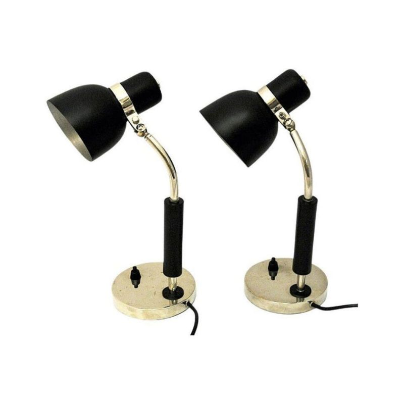 Black and classic pair of metal table lamps 1940s-Sweden