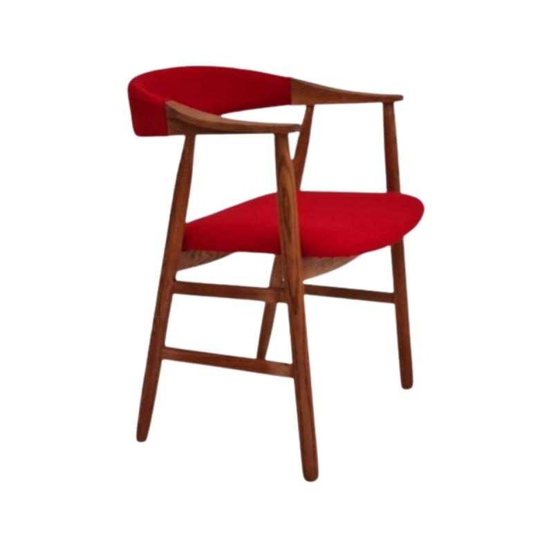 Danish armchair, 70s, reupholstered, KVADRAT furniture wool, oak wood