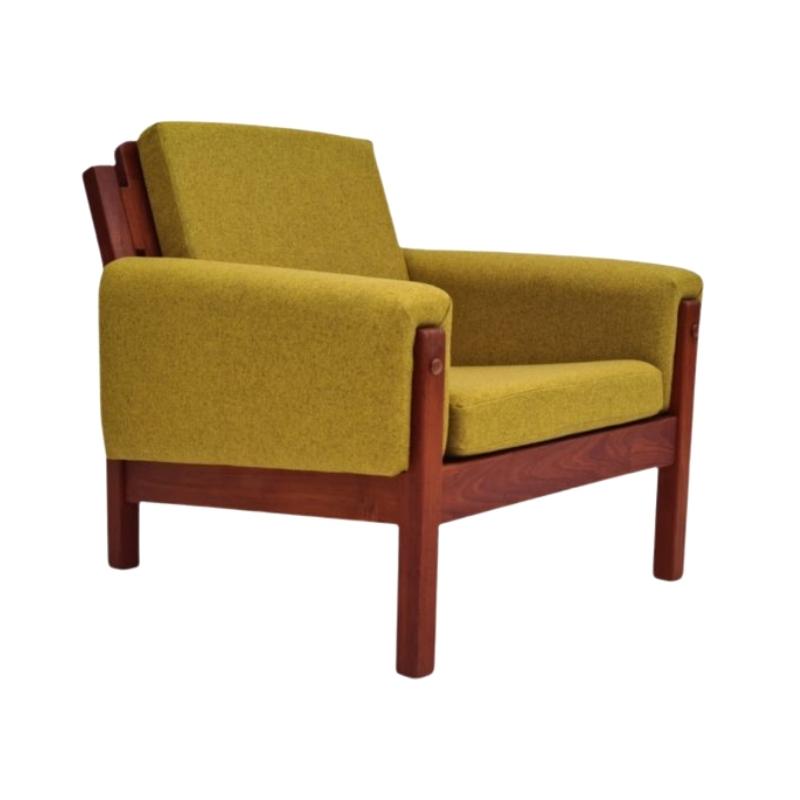 Danish design, 70s, armchair, furniture wool, teak wood