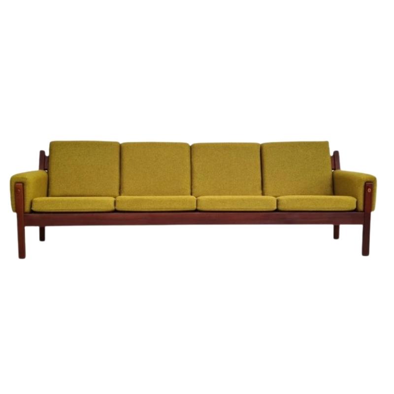 Danish design, 70s, restored 4 pers. sofa, furniture wool, teak wood