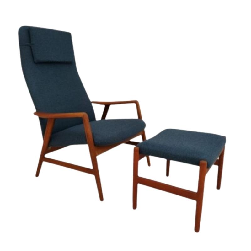 Danish design by Alf Svensson, model Kontur, 70s, furniture wool fabric, teak