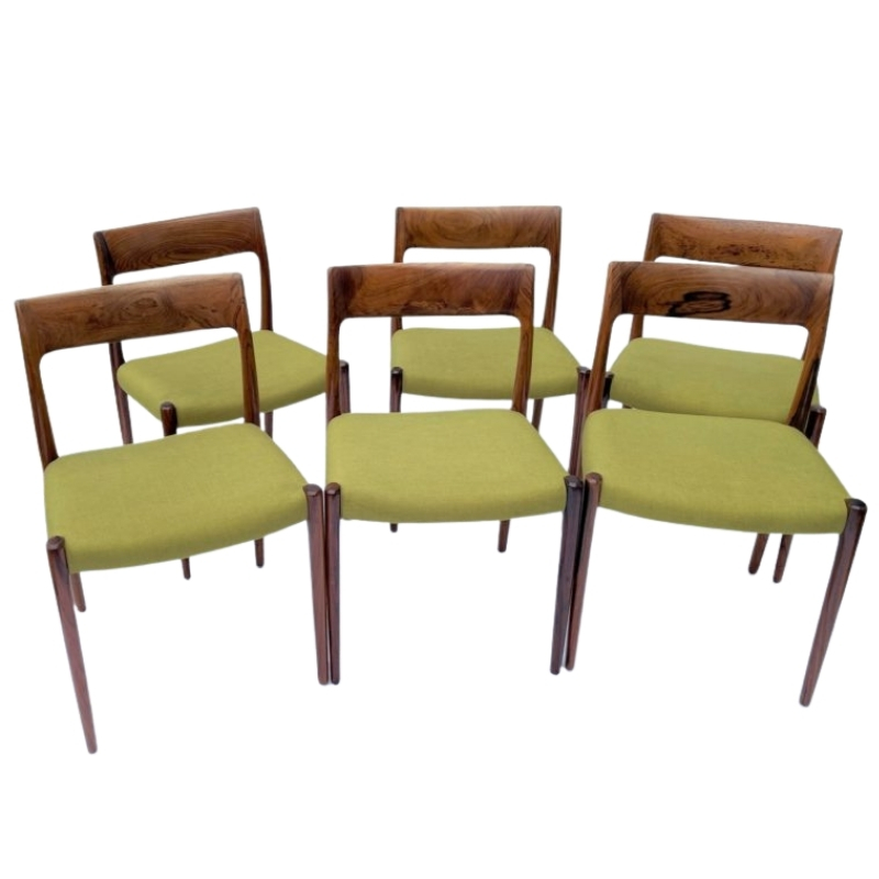 Danish design dining chairs in Rosewood by Niels Otto Moller , set of 6