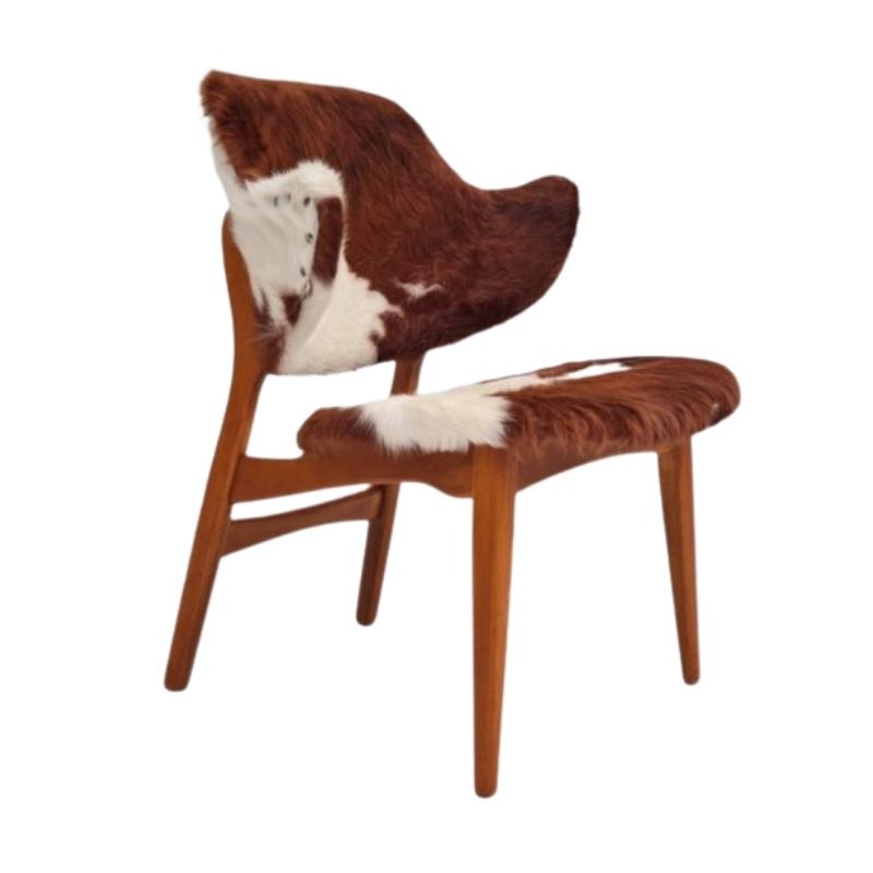Danish lounge chair by Ib Kofod Larsen, 70s, renovated, cowhide