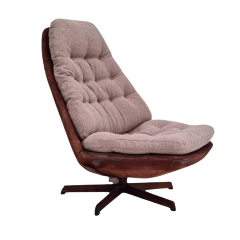 Danish lounge chair by Madsen & Schubell, 70s, reupholstered, furniture wool and nubuck leather
