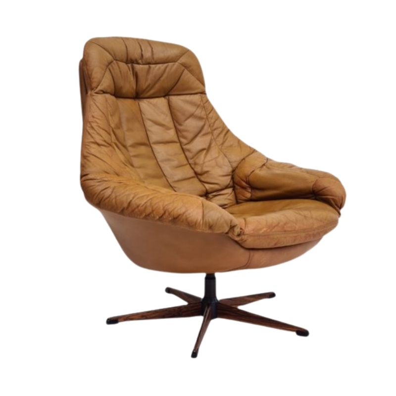 Danish swivel armchair by H.W.Klein, 70s, leather, original upholstery, very good condition