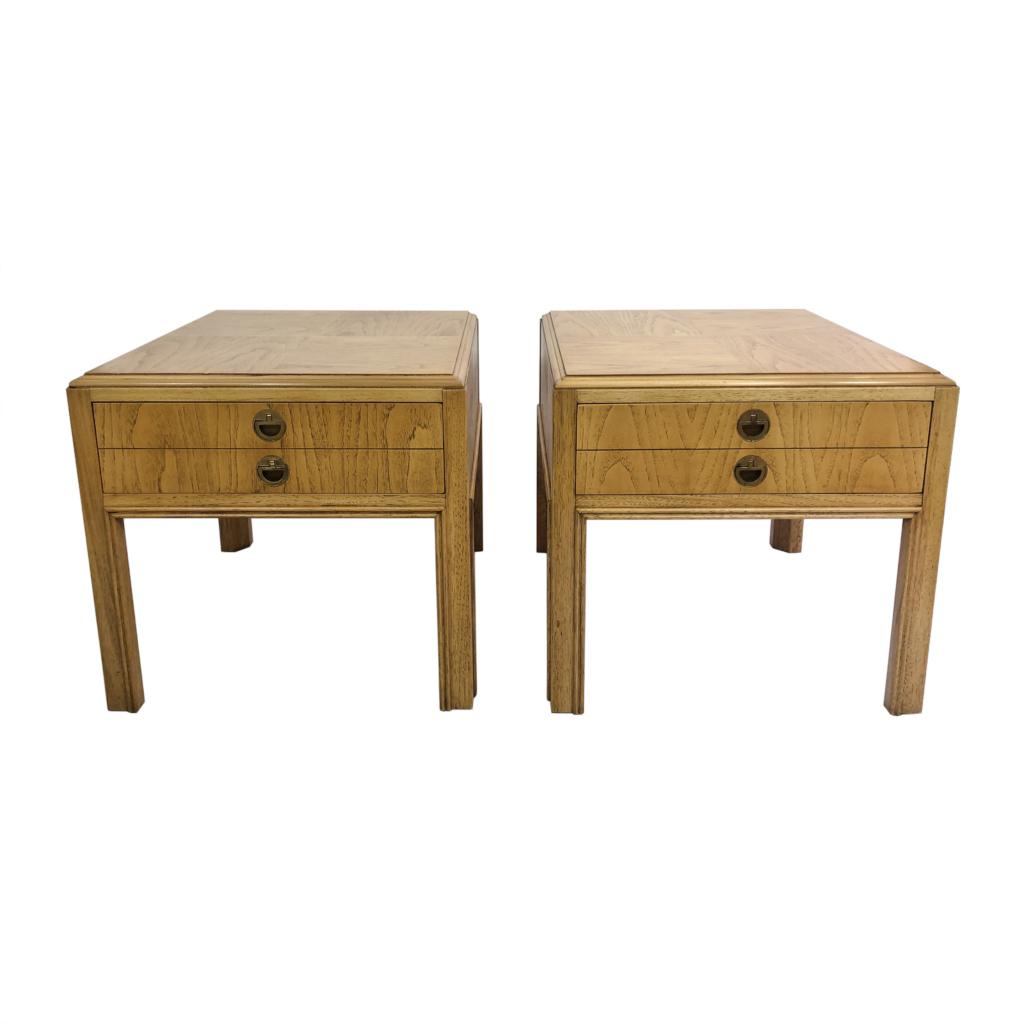 Drexel Walnut Bedside Tables Mid-century Hollywood Regency 1960s Vintage Wooden