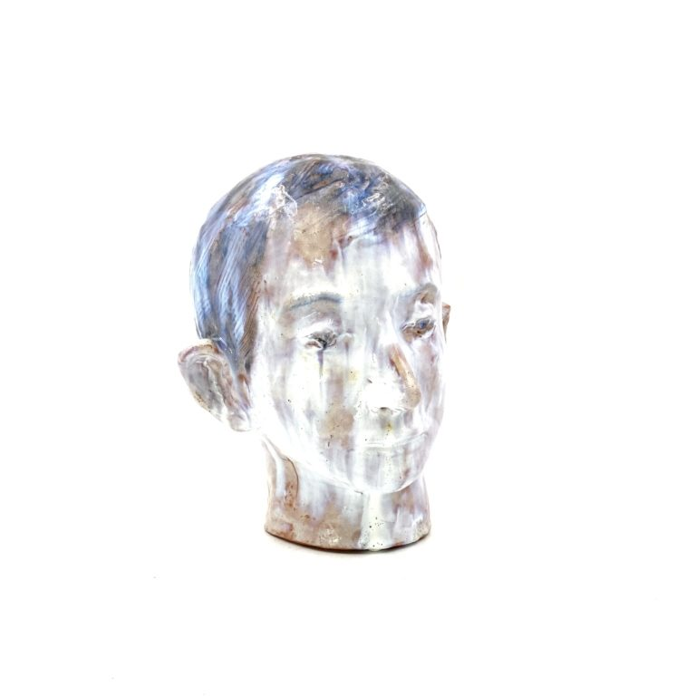 French Glazed terracotta boy head, France 1958