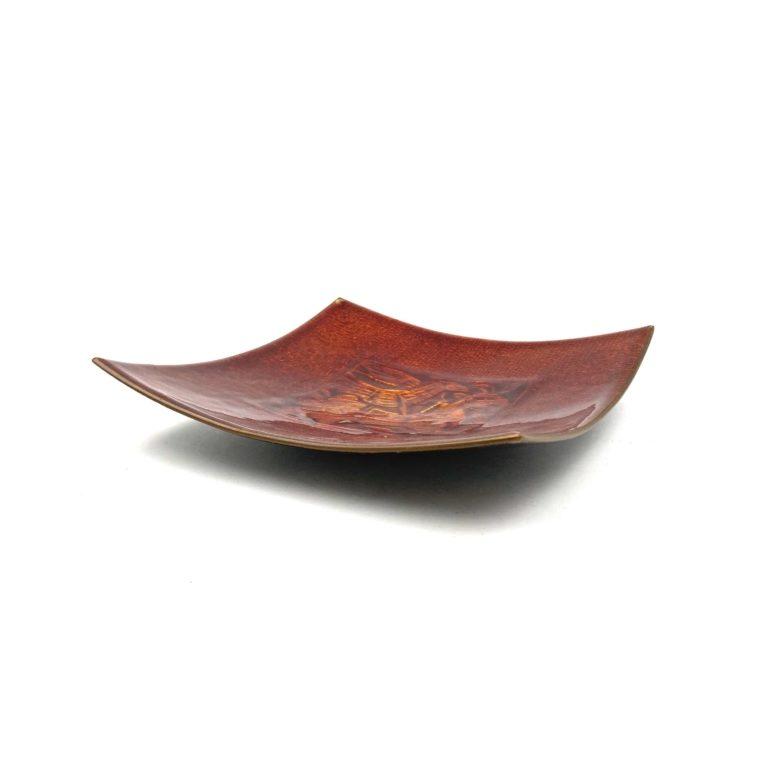 Studio Del Campo, red fire-Glazed copper tray, Italy, ca. 1970