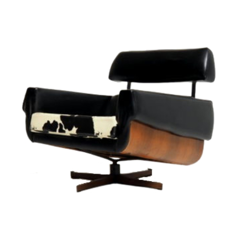 MAD MEN chair in rosewood and skai leather