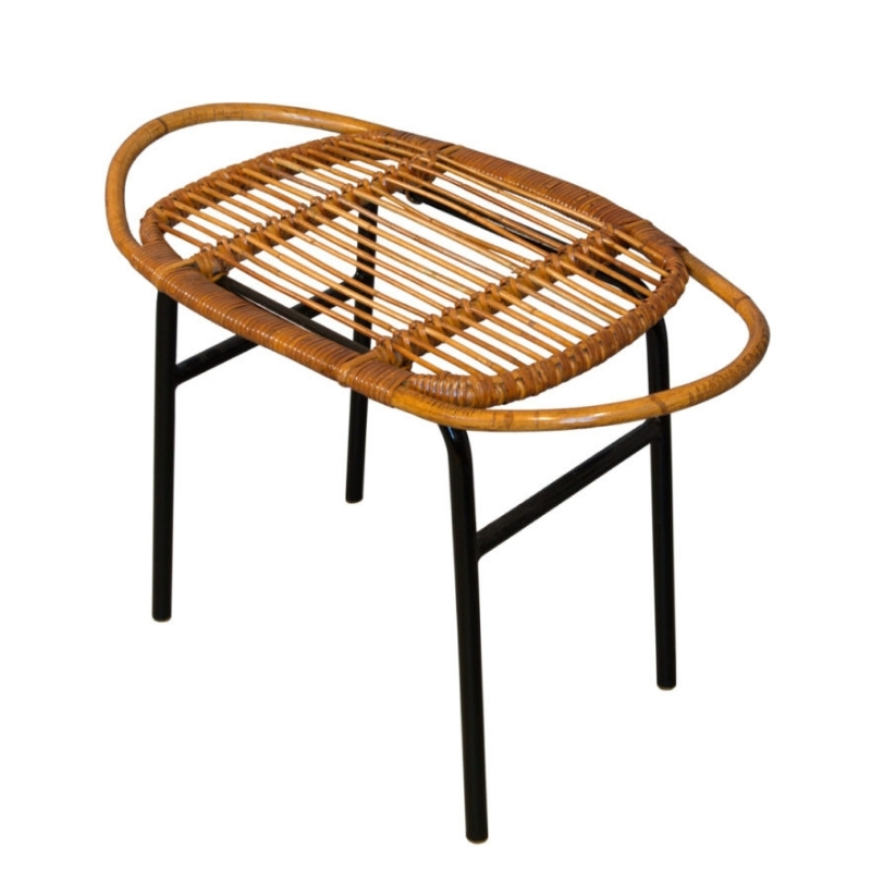 Mid Century Rattan Stool by Alan Fuchs for Experimental Housing Project Invalidovna in Prague