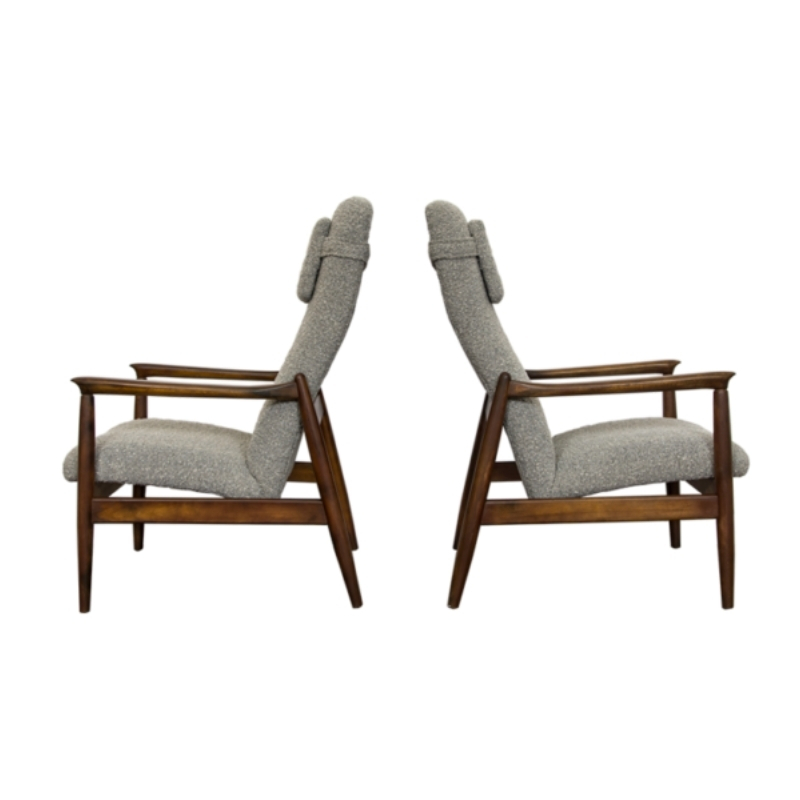 Pair of GFM-64 armchairs in Bouclé by Edmund Homa for GFM, 1960