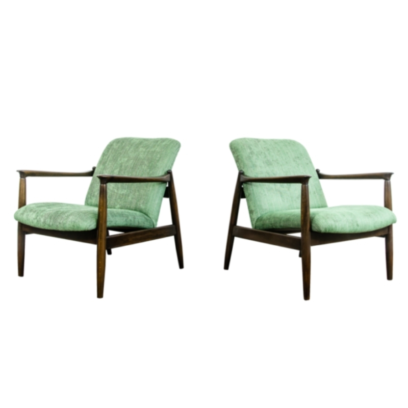 Pair of gfm-64 armchairs by edmund homa 1960's