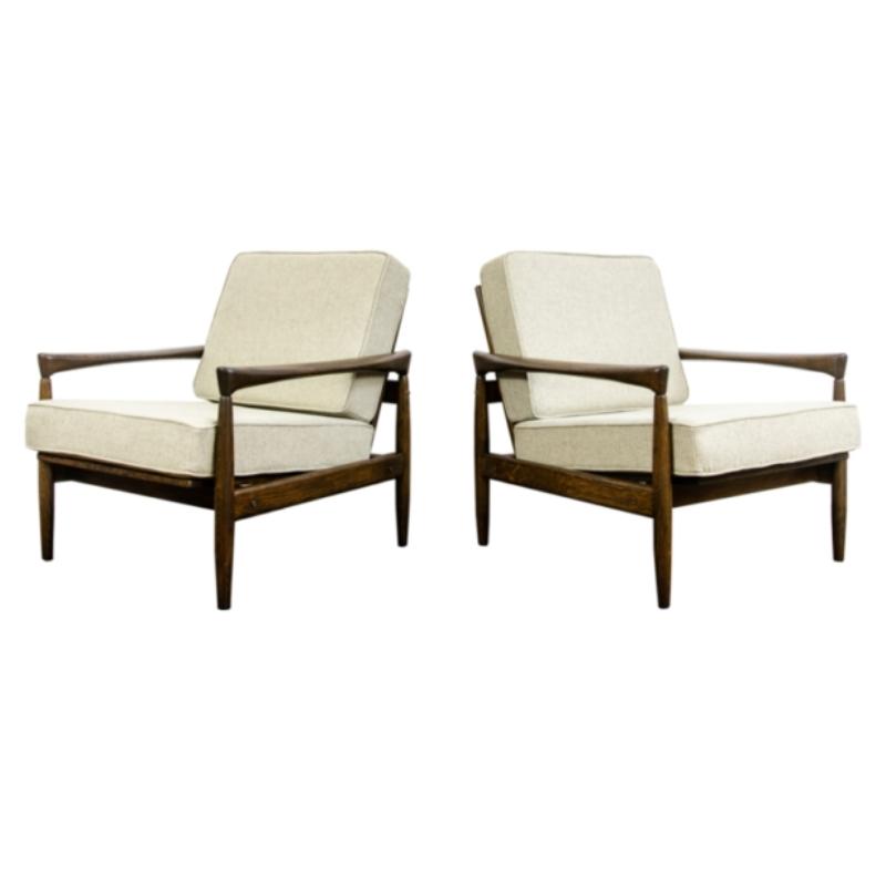 Pair of oak Kolding armchair in wool by Erik Wørts for Ikea 1960