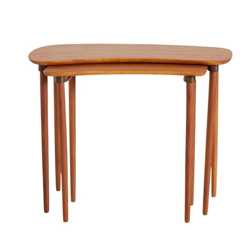 RESTORED TEAK NESTING TABLE