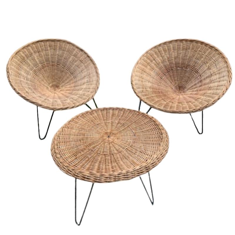 Rattan lounge : Robert Mango : 1950s