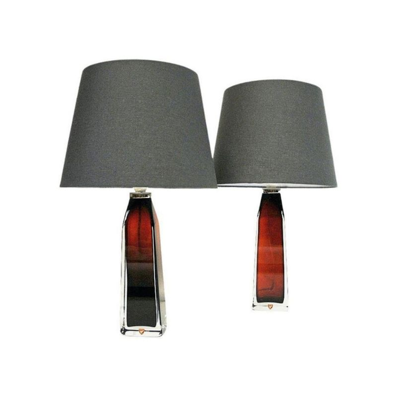 Red glass tablelamp pair by Carl Fagerlund for Orrefors, Sweden 1960s