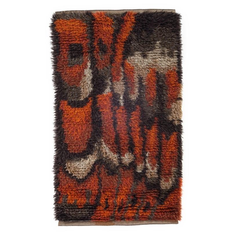 Scandinavian mid-century modern rya rug. 132 cm X 75 cm (4.33 ft X 2.46 ft)