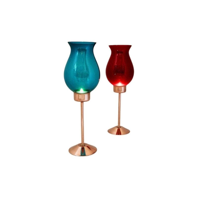 Swedish Candle holder pair with coloured glassdomes by Gnosjö Konstmide 1960s