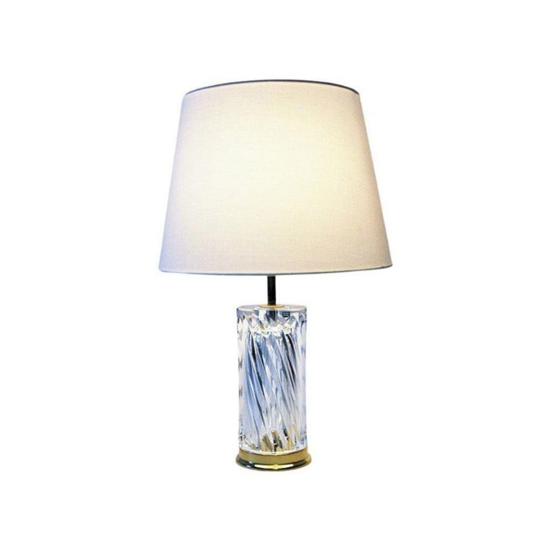 Swedish crystal glass and brass table lamp by Olle Alberius for Orrefors 1970s
