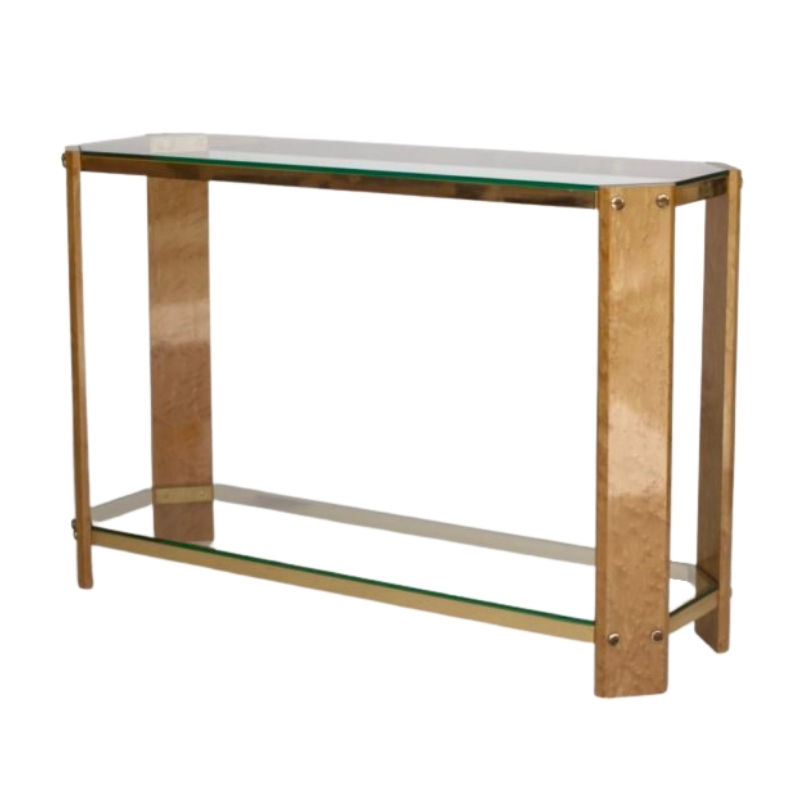 Vintage Italian Maple wood and Brass Console Table. 1970s
