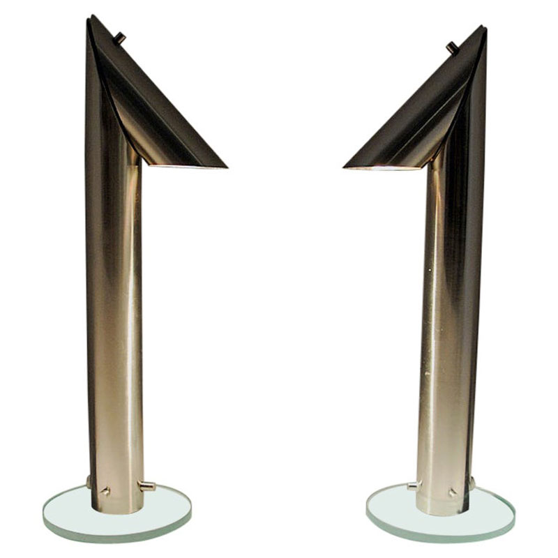 Long and stylish pair of metal table lamps by Markslöjd Sweden 1980s