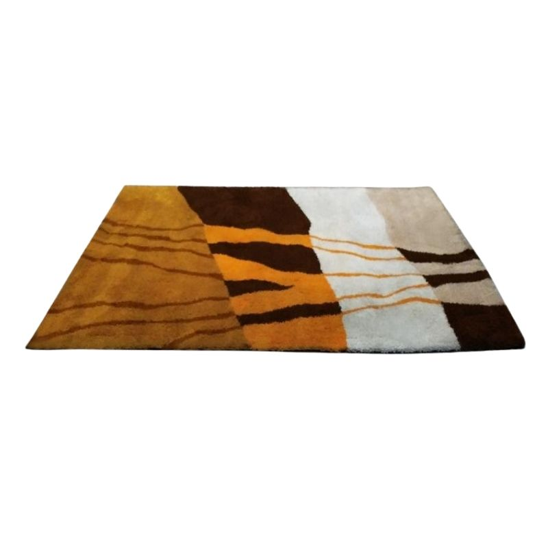 1970s Original Stunnig Space Age Rug in Wool. Made in Italy