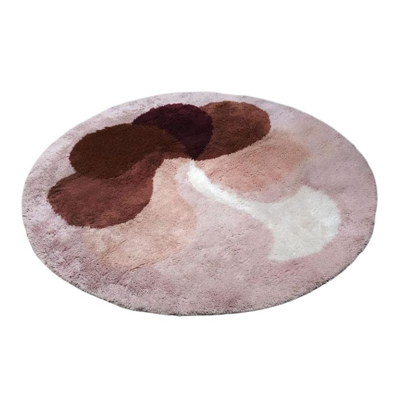 1970s Original Stunnig Space Age Round Rug in Wool Made in Italy