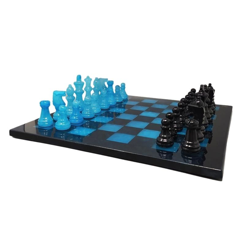 1970s Astonishing Blue and Black Chess Set in Volterra Alabaster Handmade. Made in Italy