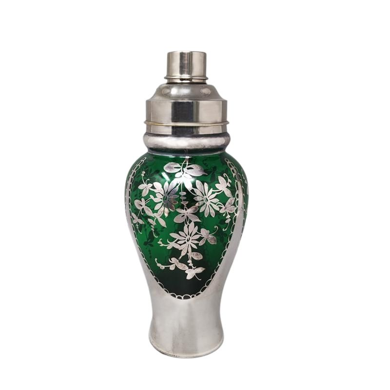 1950s Stunning Green and Silver Cocktail Shaker. Made in Italy