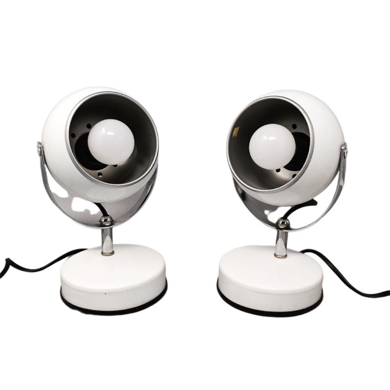 1970s Gorgeous Pair of White Eyeball Table Lamps by Veneta Lumi. Made in Italy