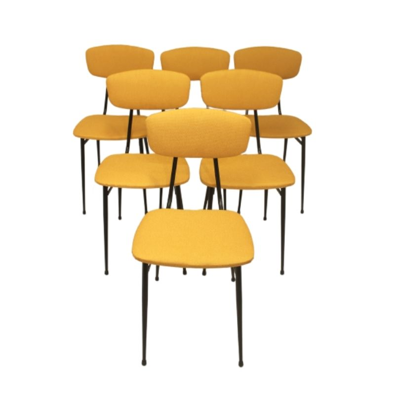 Lot of six vintage chairs year 50,60 tubular metal base in very good condition yellow fabric.