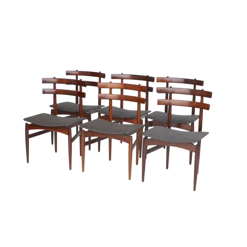 Danish Rosewood Model 30 Dining Chairs by Poul Hundevad for Hundevad & Co., 1950s, Set of 6