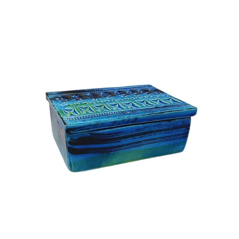 """1960s Bitossi Box in Ceramic by Aldo Londi """"Blue Collection"""""""