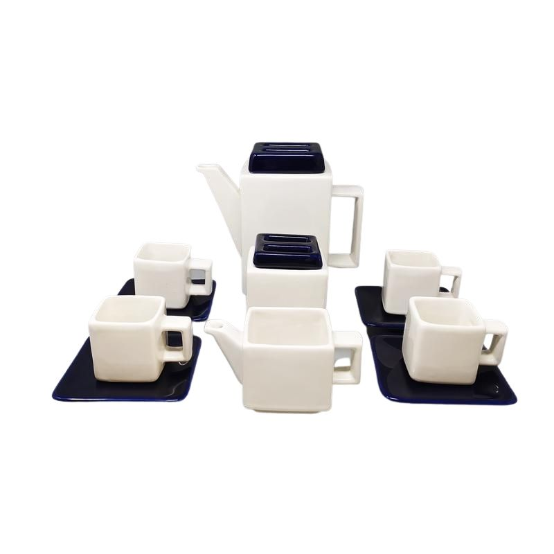 1970s Gorgeous Blue and White Coffee Set by F.lli Brambilla. Made in Italy