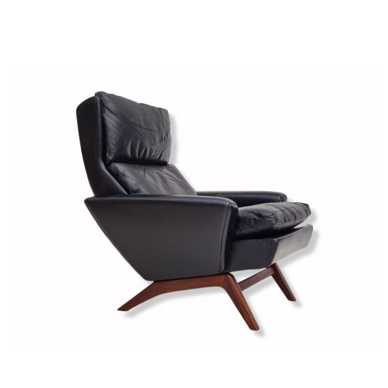 Danish armchair by Georg Thams, 60s, black leather, rosewood, original condition