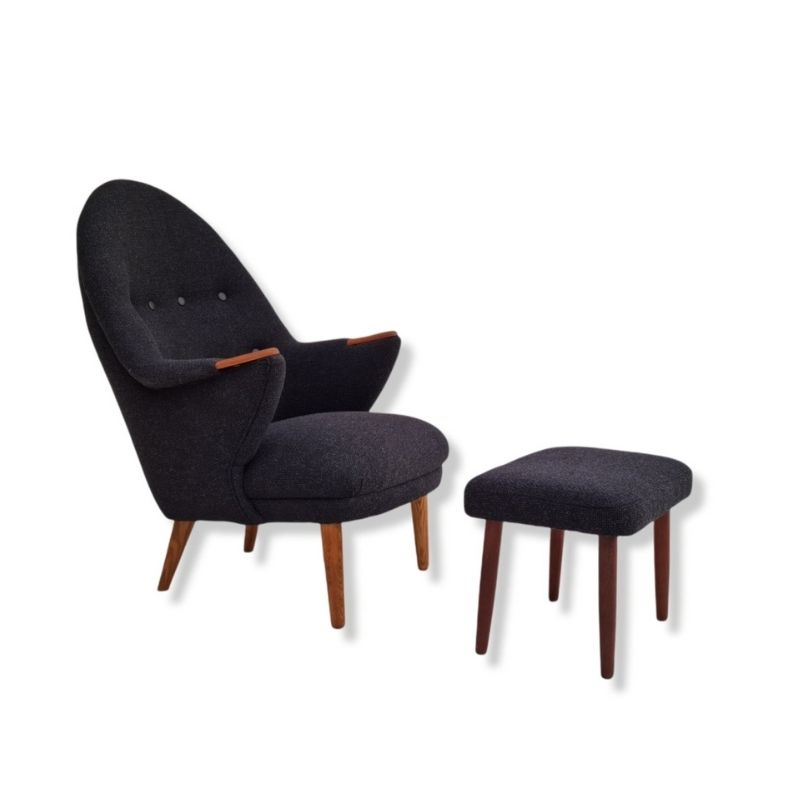Danish armchair with stool, 60s, reupholstered, furniture wool