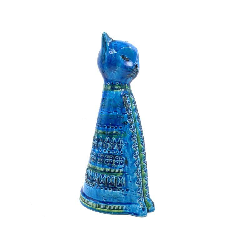 "Aldo Londi, ""Sitting Cat"" Rimini blue series, Bitossi Ceramiche, Italy"