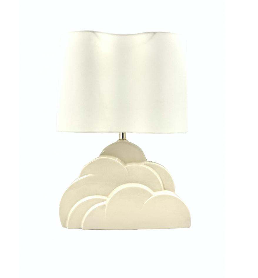 Cloud 9 table Lamp, clouds white craquelé ceramic base, USA 1970s