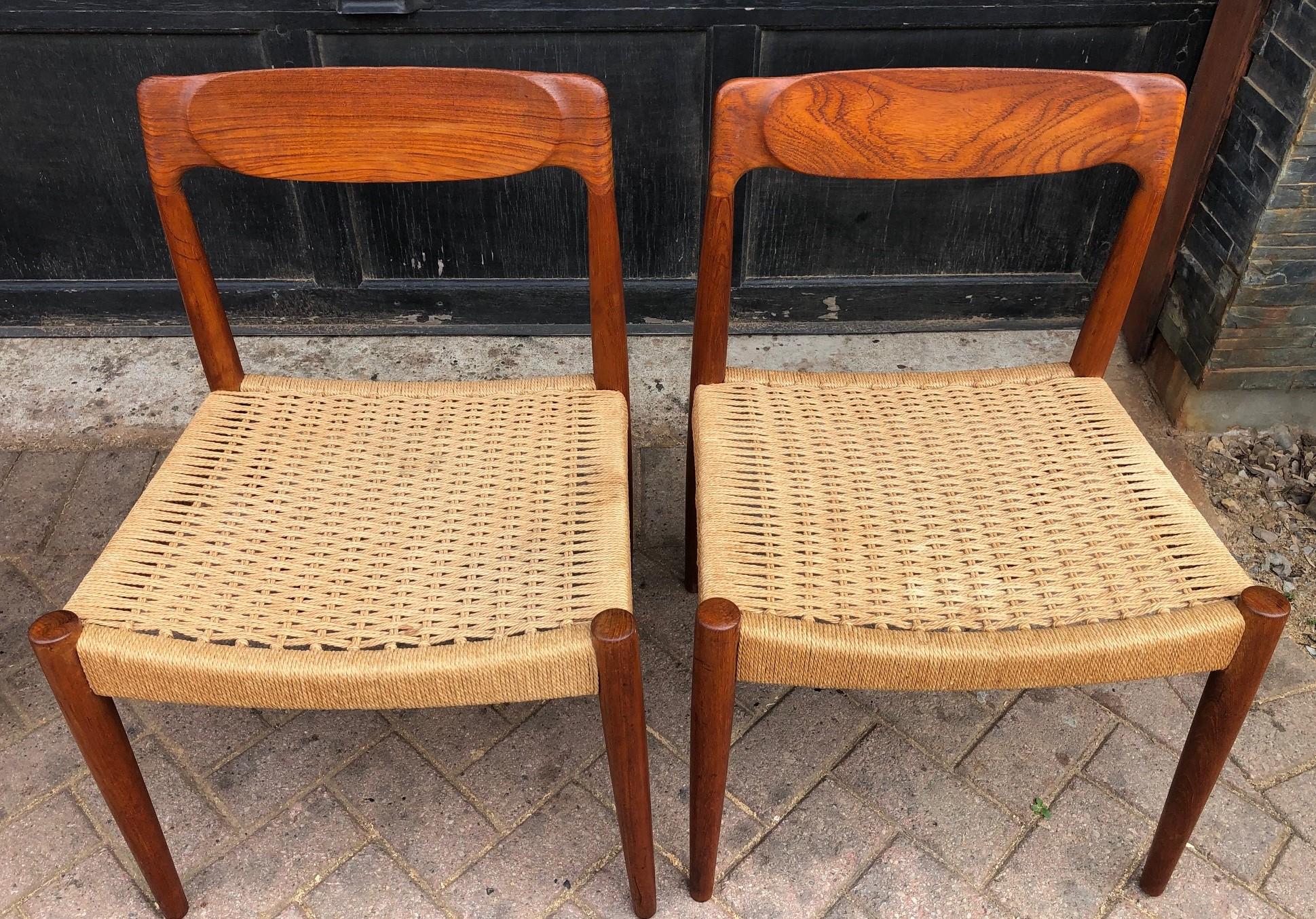 Danish Mid Century Modern Teak And Cord Dining Chairs